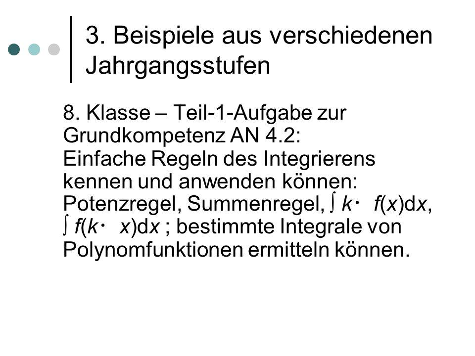3. Beispiele aus verschiedenen Jahrgangsstufen 8. Klasse – Teil-1-Aufgabe zur Grundkompetenz AN 4.2: Einfache Regeln des Integrierens kennen und anwen