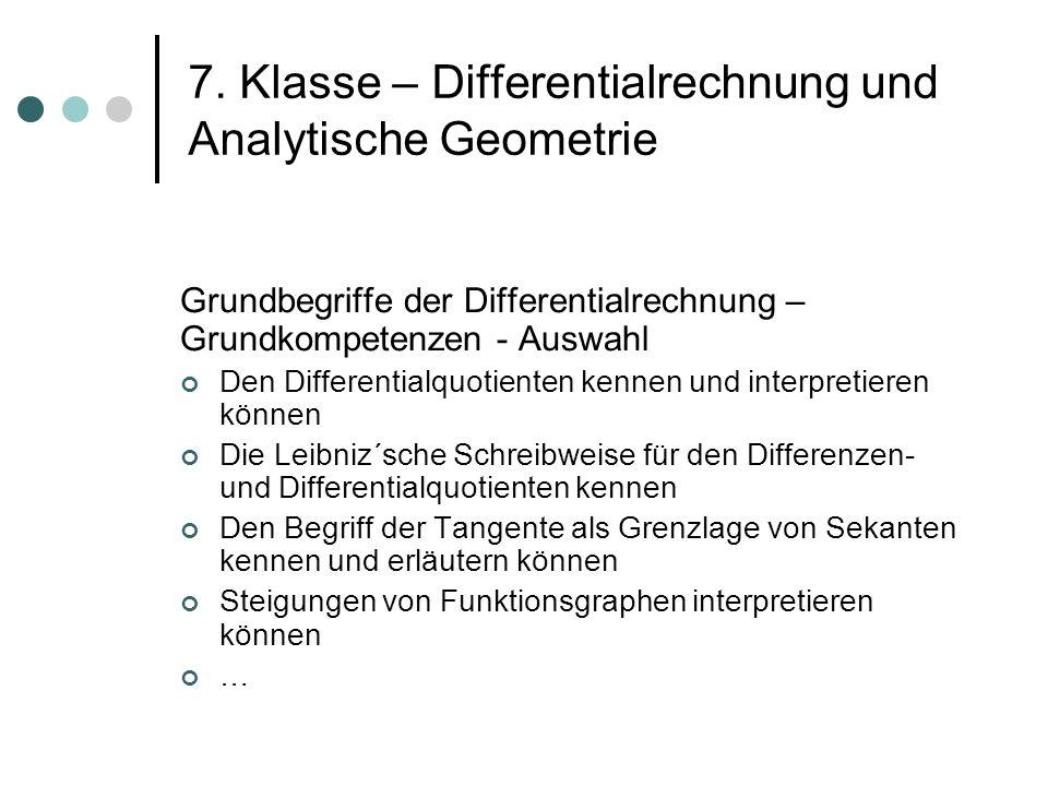 7. Klasse – Differentialrechnung und Analytische Geometrie Grundbegriffe der Differentialrechnung – Grundkompetenzen - Auswahl Den Differentialquotien