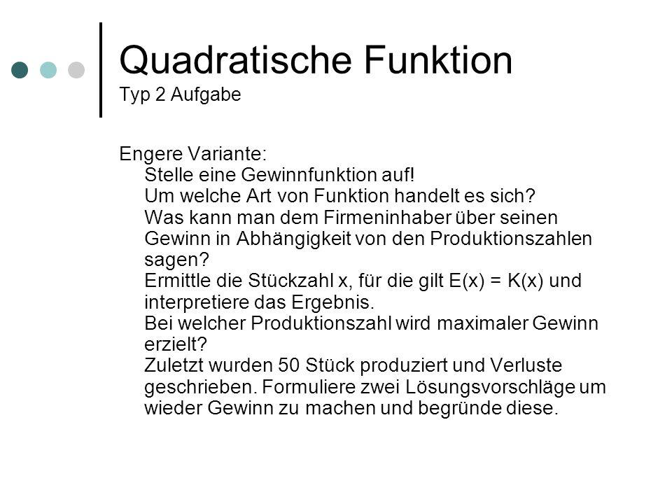 Quadratische Funktion Typ 2 Aufgabe Engere Variante: Stelle eine Gewinnfunktion auf! Um welche Art von Funktion handelt es sich? Was kann man dem Firm