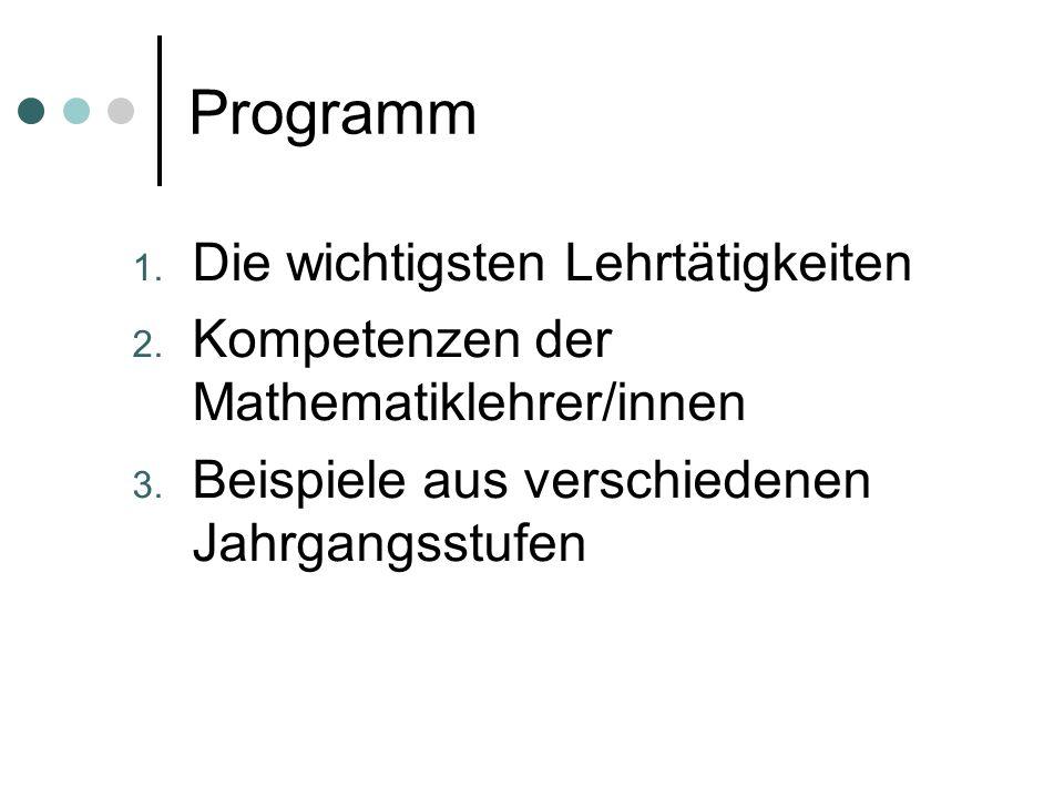 Programm 1. Die wichtigsten Lehrtätigkeiten 2. Kompetenzen der Mathematiklehrer/innen 3. Beispiele aus verschiedenen Jahrgangsstufen