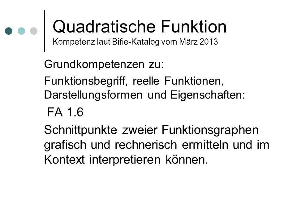 Quadratische Funktion Kompetenz laut Bifie-Katalog vom März 2013 Grundkompetenzen zu: Funktionsbegriff, reelle Funktionen, Darstellungsformen und Eige
