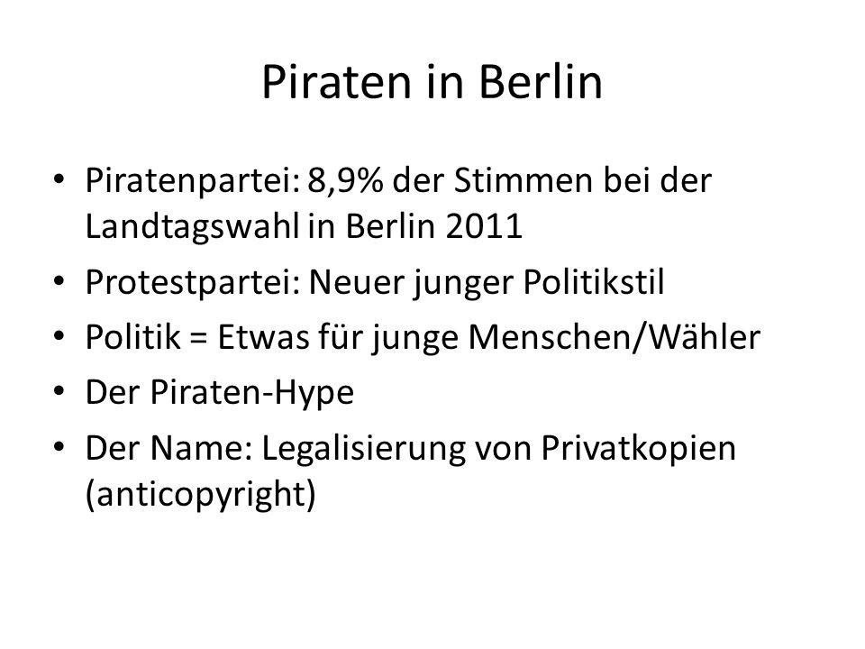 Piratenpartei: 8,9% der Stimmen bei der Landtagswahl in Berlin 2011 Protestpartei: Neuer junger Politikstil Politik = Etwas für junge Menschen/Wähler Der Piraten-Hype Der Name: Legalisierung von Privatkopien (anticopyright)