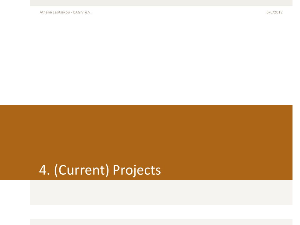 4. (Current) Projects 6/6/2012Athena Leotsakou - BAGIV e.V.