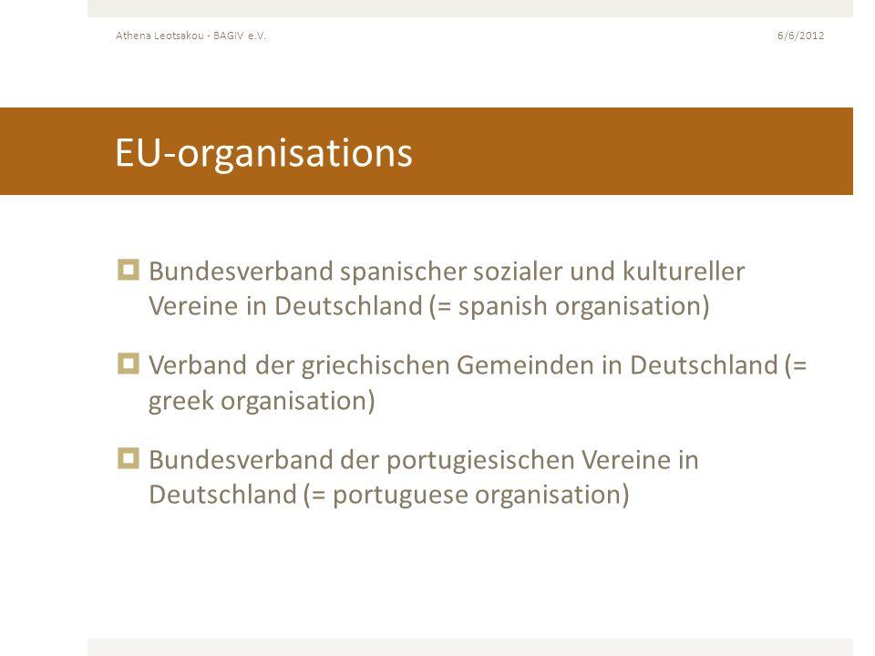 EU-organisations Bundesverband spanischer sozialer und kultureller Vereine in Deutschland (= spanish organisation) Verband der griechischen Gemeinden