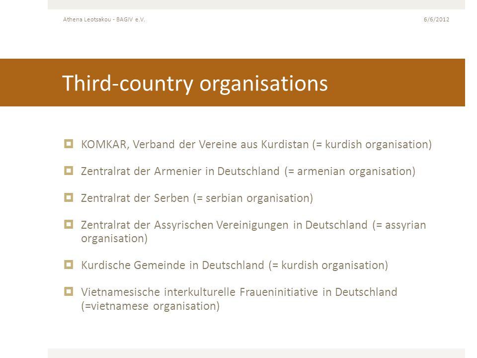 Third-country organisations KOMKAR, Verband der Vereine aus Kurdistan (= kurdish organisation) Zentralrat der Armenier in Deutschland (= armenian orga