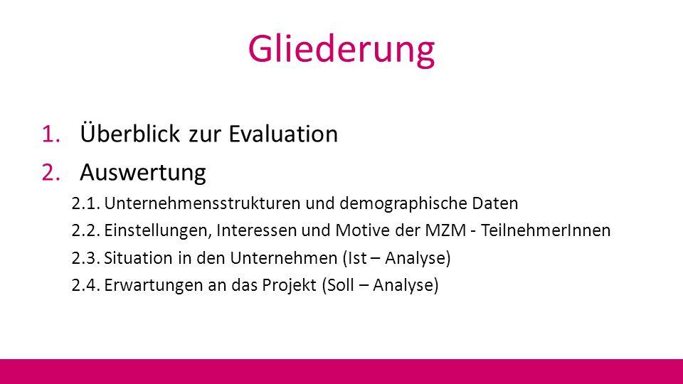Gliederung 1.Überblick zur Evaluation 2.Auswertung 2.1. Unternehmensstrukturen und demographische Daten 2.2. Einstellungen, Interessen und Motive der