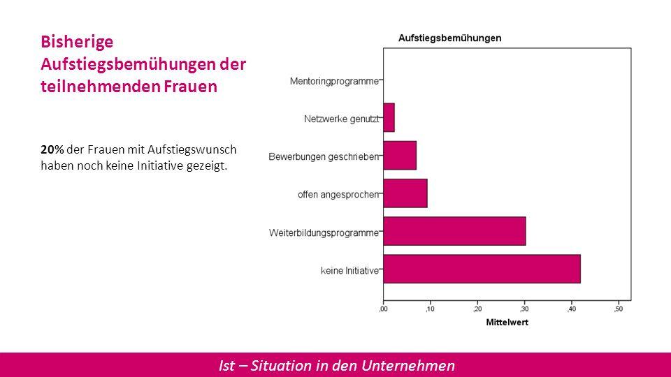Bisherige Aufstiegsbemühungen der teilnehmenden Frauen 20% der Frauen mit Aufstiegswunsch haben noch keine Initiative gezeigt. Ist – Situation in den