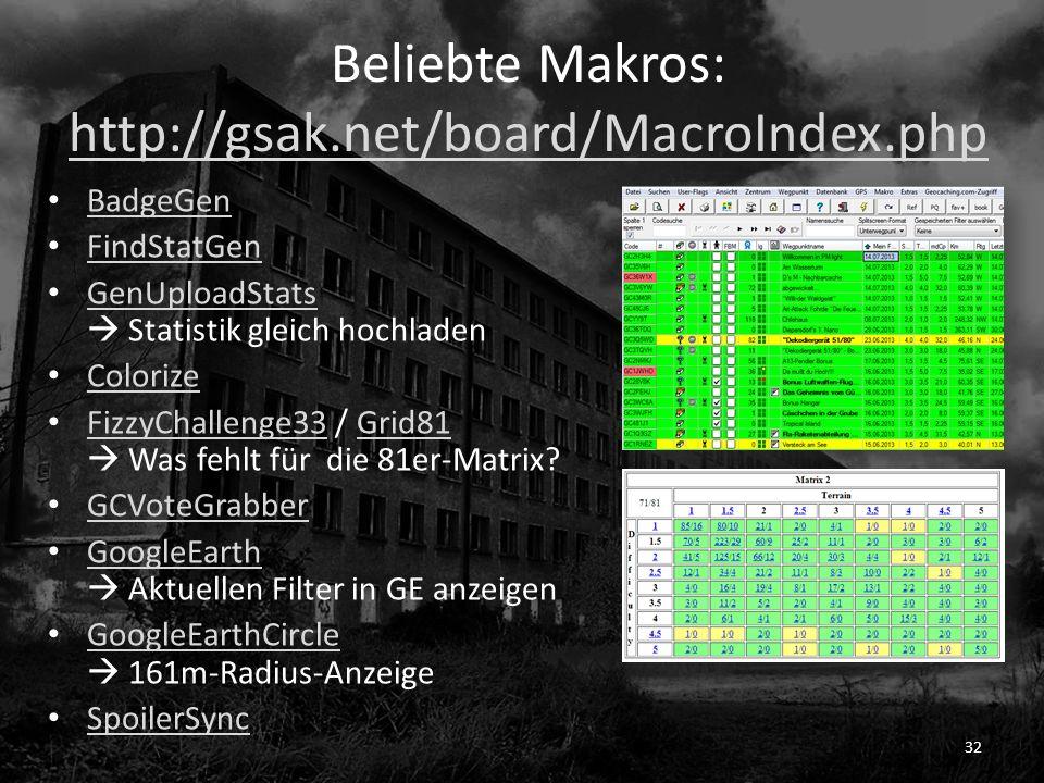 Beliebte Makros: http://gsak.net/board/MacroIndex.php http://gsak.net/board/MacroIndex.php BadgeGen FindStatGen GenUploadStats Statistik gleich hochladen GenUploadStats Colorize FizzyChallenge33 / Grid81 Was fehlt für die 81er-Matrix.