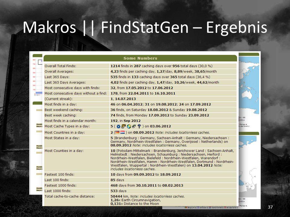 Makros || FindStatGen – Ergebnis 37