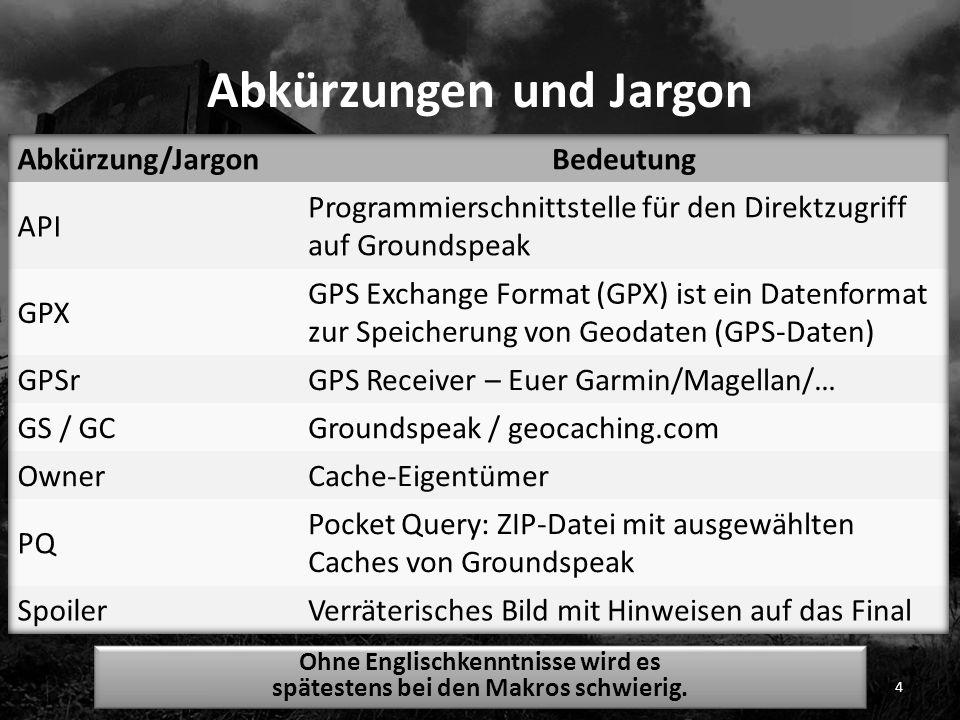 Abkürzungen und Jargon 4 Ohne Englischkenntnisse wird es spätestens bei den Makros schwierig.