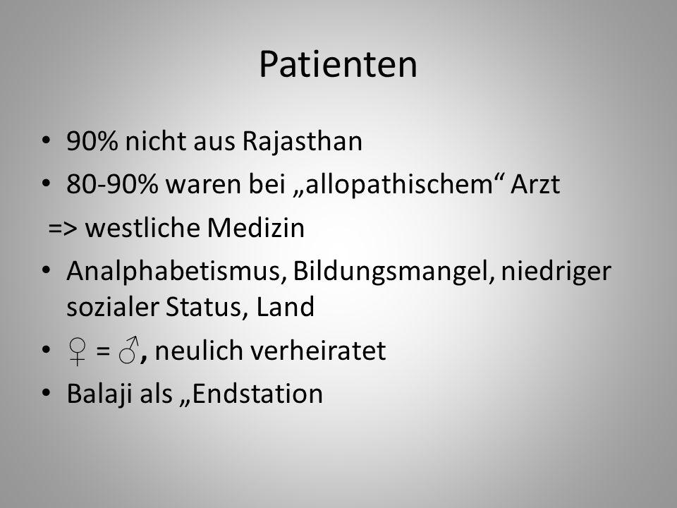 Patienten 90% nicht aus Rajasthan 80-90% waren bei allopathischem Arzt => westliche Medizin Analphabetismus, Bildungsmangel, niedriger sozialer Status
