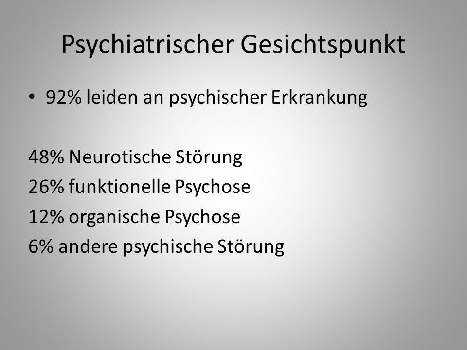 Psychiatrischer Gesichtspunkt 92% leiden an psychischer Erkrankung 48% Neurotische Störung 26% funktionelle Psychose 12% organische Psychose 6% andere