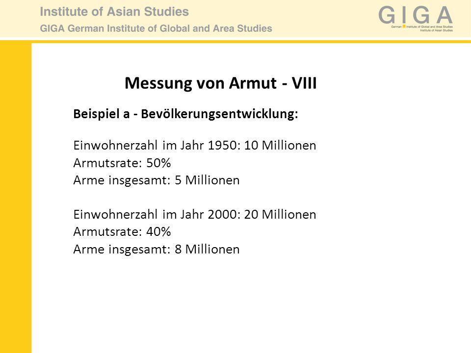 Messung von Armut - VIII Beispiel a - Bevölkerungsentwicklung: Einwohnerzahl im Jahr 1950: 10 Millionen Armutsrate: 50% Arme insgesamt: 5 Millionen Ei