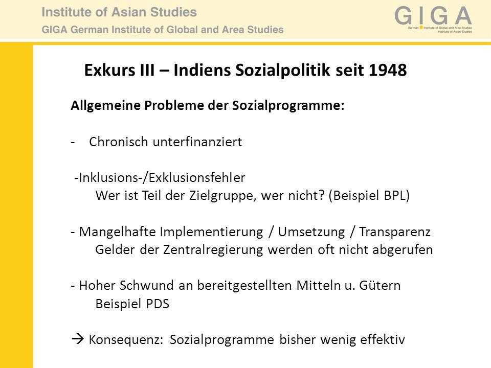 Allgemeine Probleme der Sozialprogramme: -Chronisch unterfinanziert -Inklusions-/Exklusionsfehler Wer ist Teil der Zielgruppe, wer nicht? (Beispiel BP