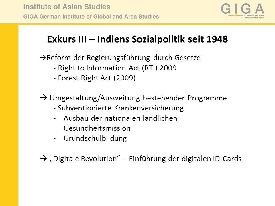 Reform der Regierungsführung durch Gesetze - Right to Information Act (RTI) 2009 - Forest Right Act (2009) Umgestaltung/Ausweitung bestehender Program