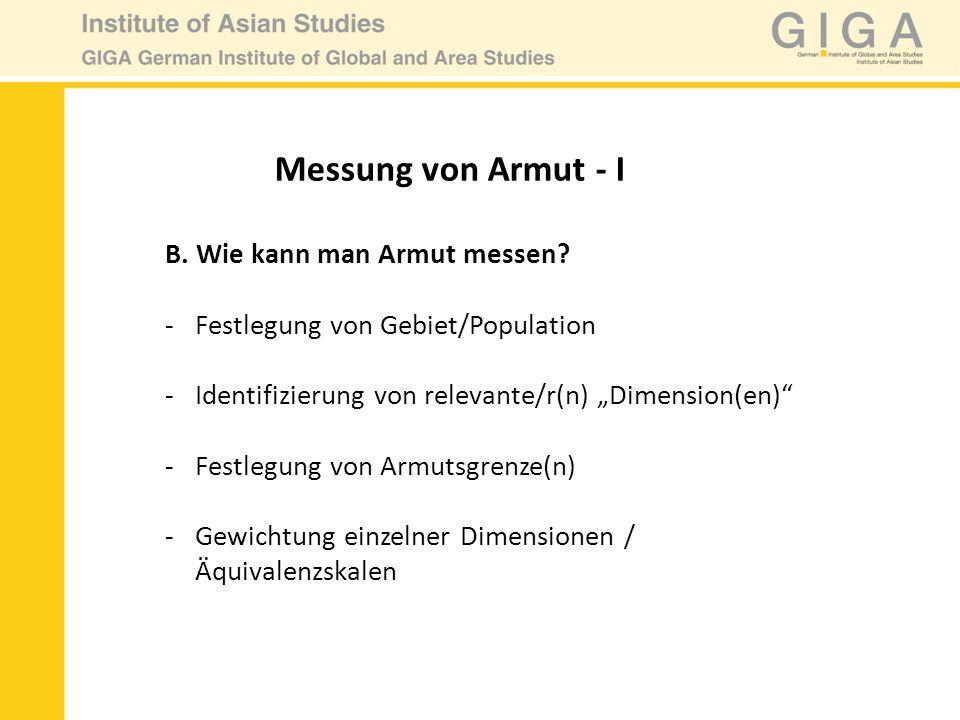 Messung von Armut - I B. Wie kann man Armut messen? -Festlegung von Gebiet/Population -Identifizierung von relevante/r(n) Dimension(en) -Festlegung vo