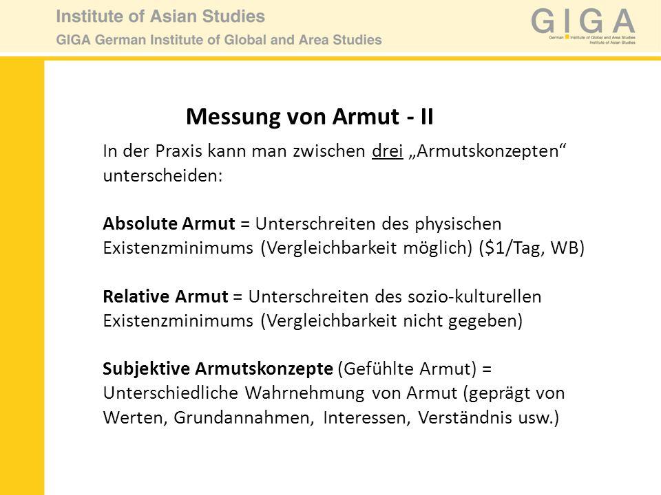 Messung von Armut - III Beispiele: Population in Gebiet A&B: 5 Einkommensverteilung: 12345ΣØMedian 10080401052354740 12345ΣØMedian 60555040302354750 A B