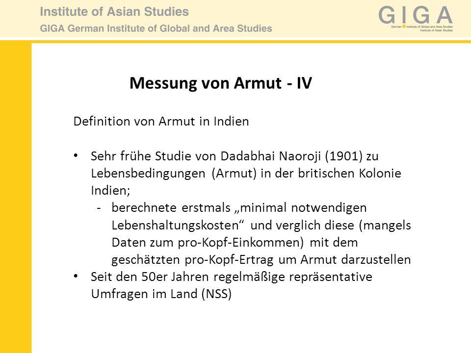 Definition von Armut in Indien Sehr frühe Studie von Dadabhai Naoroji (1901) zu Lebensbedingungen (Armut) in der britischen Kolonie Indien; -berechnet