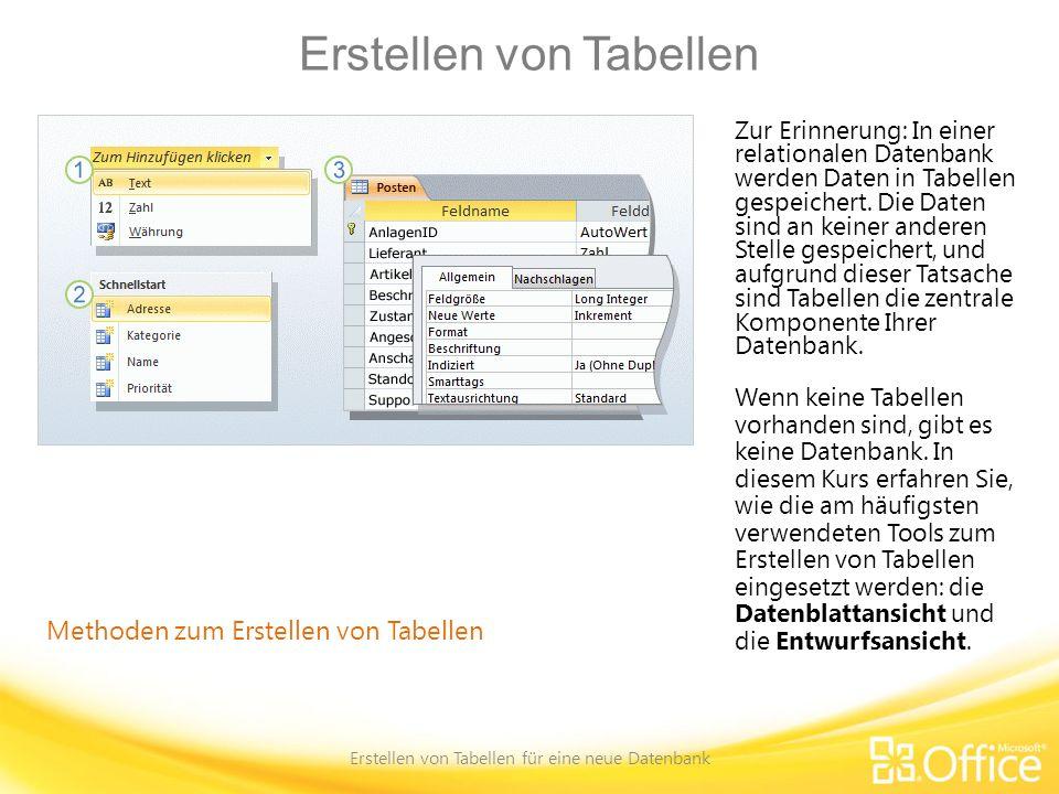 Erstellen von Tabellen Erstellen von Tabellen für eine neue Datenbank Methoden zum Erstellen von Tabellen Zur Erinnerung: In einer relationalen Datenb