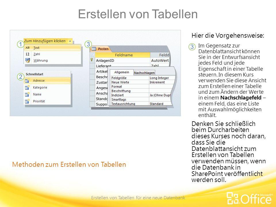 Erstellen von Tabellen Erstellen von Tabellen für eine neue Datenbank Methoden zum Erstellen von Tabellen Hier die Vorgehensweise: Im Gegensatz zur Da