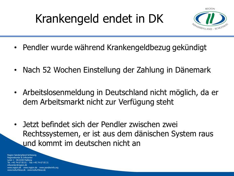 Krankengeld endet in DK Pendler wurde während Krankengeldbezug gekündigt Nach 52 Wochen Einstellung der Zahlung in Dänemark Arbeitslosenmeldung in Deu