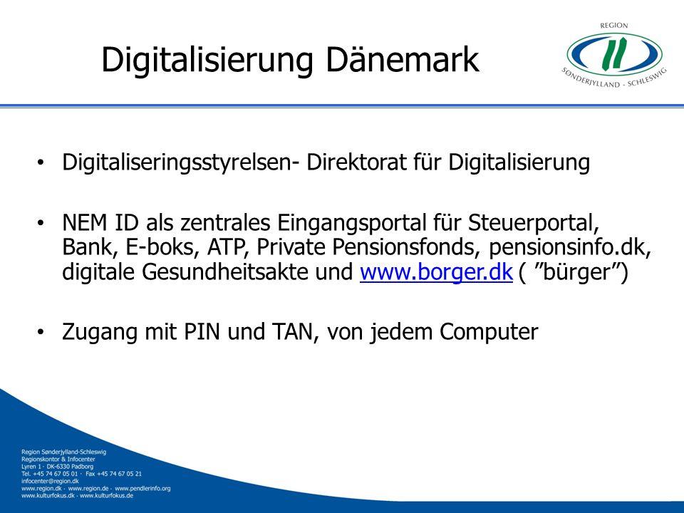 Digitalisierung Dänemark Digitaliseringsstyrelsen- Direktorat für Digitalisierung NEM ID als zentrales Eingangsportal für Steuerportal, Bank, E-boks,