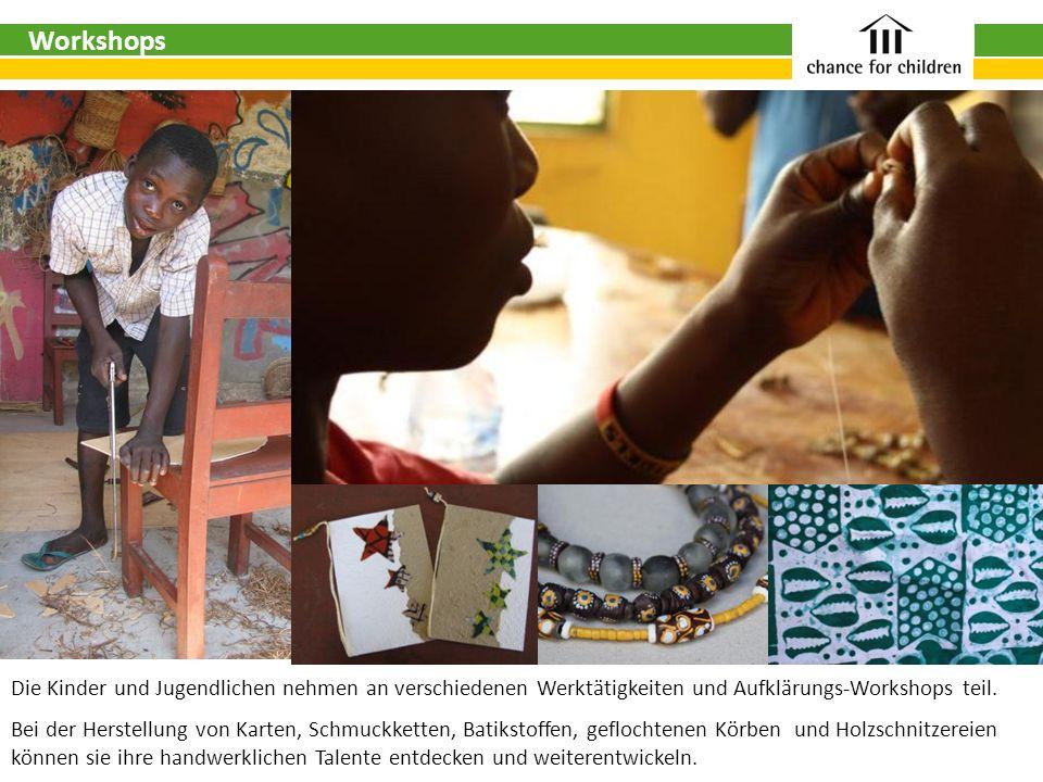Die Kinder und Jugendlichen nehmen an verschiedenen Werktätigkeiten und Aufklärungs-Workshops teil. Bei der Herstellung von Karten, Schmuckketten, Bat