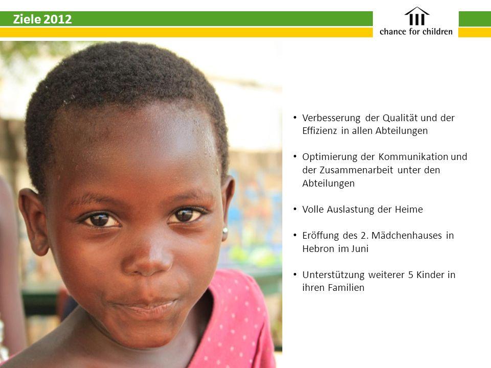 Ziele 2012 Verbesserung der Qualität und der Effizienz in allen Abteilungen Optimierung der Kommunikation und der Zusammenarbeit unter den Abteilungen