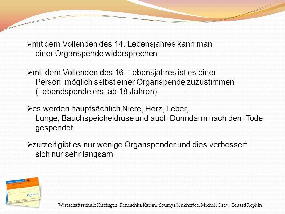 Wirtschaftsschule Kitzingen: Keneschka Karimi, Soumya Mukherjee, Michell Osew, Eduard Repkin Repräsentative Umfrage der BZgA: Wären sie grundsätzlich damit einverstanden, dass man Ihnen nach Ihrem Tod Organe und Gewebe entnimmt… .