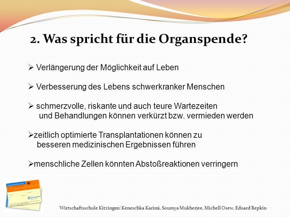 Wirtschaftsschule Kitzingen: Keneschka Karimi, Soumya Mukherjee, Michell Osew, Eduard Repkin 2. Was spricht für die Organspende? Verlängerung der Mögl