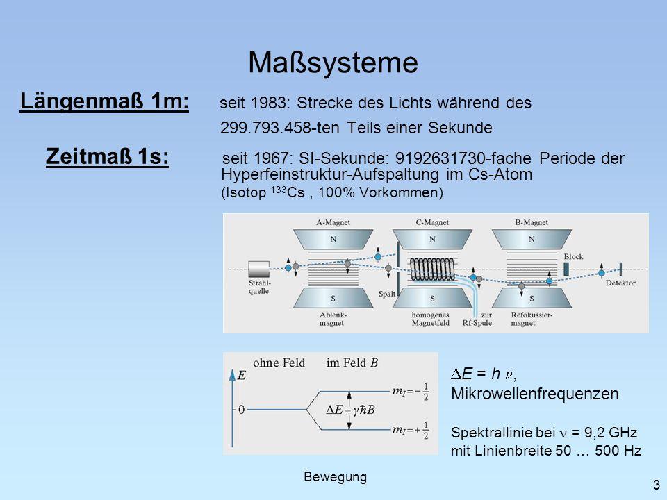 3 Maßsysteme Längenmaß 1m: seit 1983: Strecke des Lichts während des 299.793.458-ten Teils einer Sekunde Zeitmaß 1s: seit 1967: SI-Sekunde: 9192631730