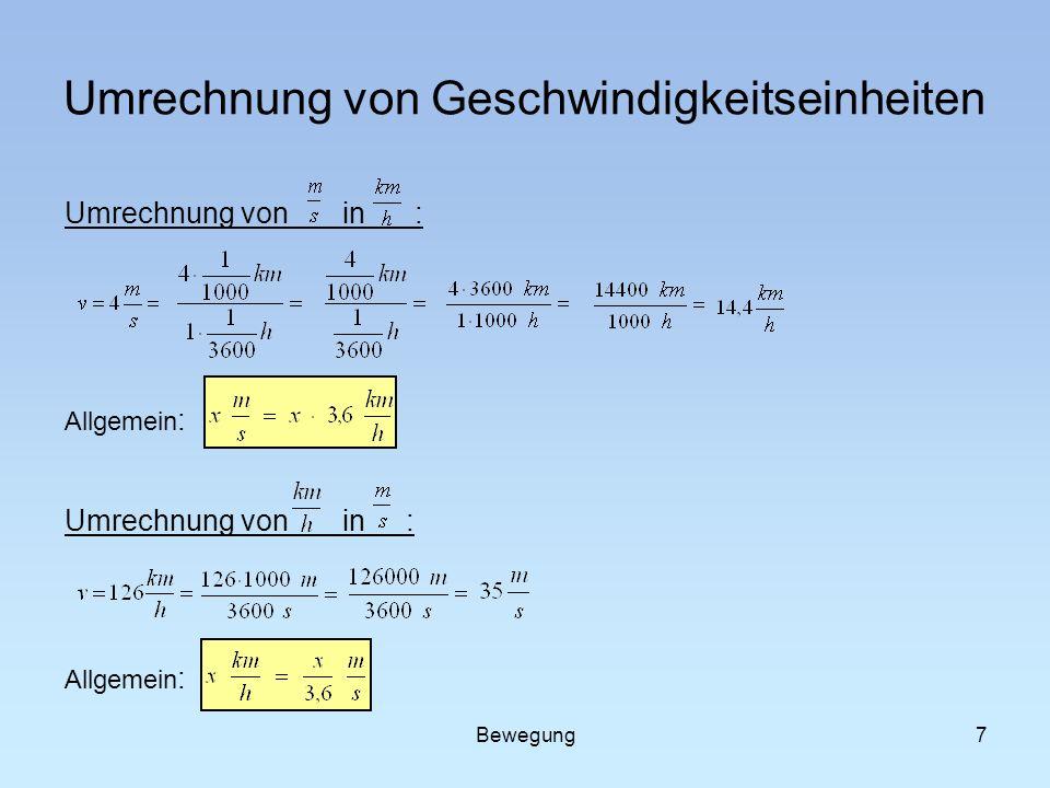 Umrechnung von Geschwindigkeitseinheiten Umrechnung von in : Allgemein : Umrechnung von in : Allgemein : 7Bewegung