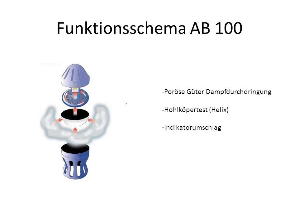 Funktionsschema AB 100 -Poröse Güter Dampfdurchdringung -Hohlköpertest (Helix) -Indikatorumschlag