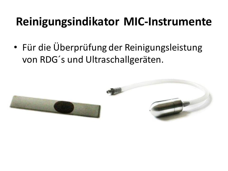 Reinigungsindikator MIC-Instrumente Für die Überprüfung der Reinigungsleistung von RDG´s und Ultraschallgeräten.