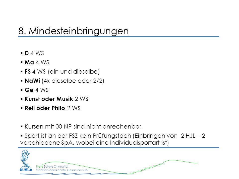 Freie Schule Zinnowitz Staatlich anerkannte Gesamtschule 8. Mindesteinbringungen D 4 WS Ma 4 WS FS 4 WS (ein und dieselbe) NaWi (4x dieselbe oder 2/2)