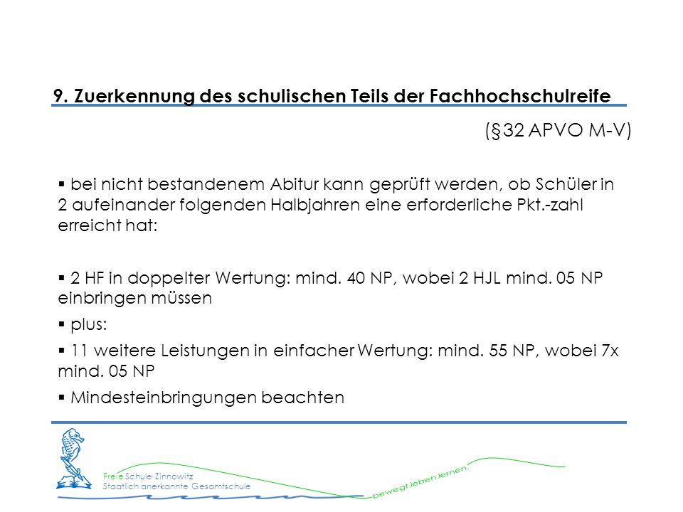 Freie Schule Zinnowitz Staatlich anerkannte Gesamtschule 9. Zuerkennung des schulischen Teils der Fachhochschulreife (§32 APVO M-V) bei nicht bestande