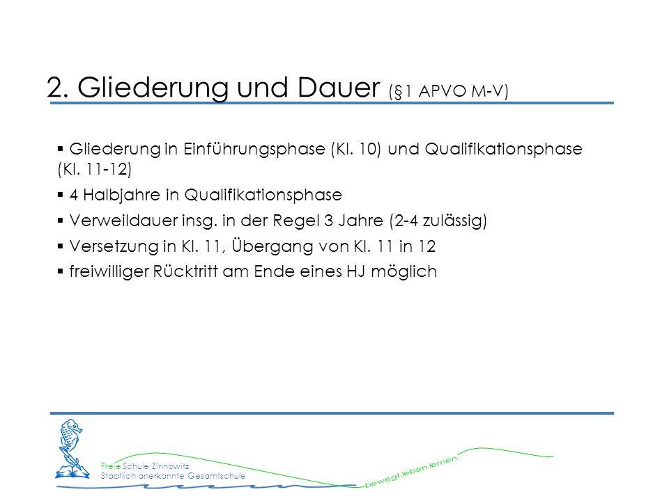 Freie Schule Zinnowitz Staatlich anerkannte Gesamtschule 2. Gliederung und Dauer (§1 APVO M-V) Gliederung in Einführungsphase (Kl. 10) und Qualifikati