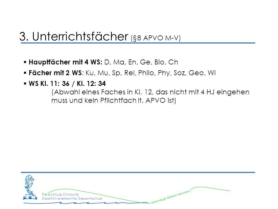Freie Schule Zinnowitz Staatlich anerkannte Gesamtschule 3. Unterrichtsfächer (§8 APVO M-V) Hauptfächer mit 4 WS: D, Ma, En, Ge, Bio, Ch Fächer mit 2