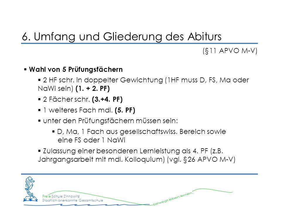 Freie Schule Zinnowitz Staatlich anerkannte Gesamtschule 6. Umfang und Gliederung des Abiturs (§11 APVO M-V) Wahl von 5 Prüfungsfächern 2 HF schr. in