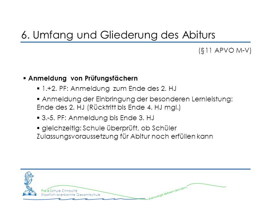 Freie Schule Zinnowitz Staatlich anerkannte Gesamtschule 6. Umfang und Gliederung des Abiturs (§11 APVO M-V) Anmeldung von Prüfungsfächern 1.+2. PF: A