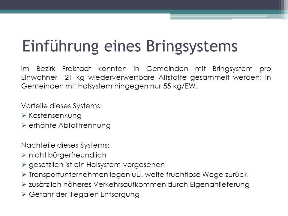 Einführung eines Bringsystems Im Bezirk Freistadt konnten in Gemeinden mit Bringsystem pro Einwohner 121 kg wiederverwertbare Altstoffe gesammelt werden; in Gemeinden mit Holsystem hingegen nur 55 kg/EW.