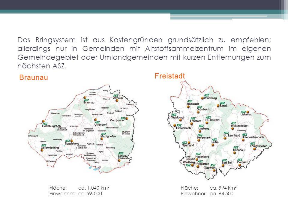 Das Bringsystem ist aus Kostengründen grundsätzlich zu empfehlen; allerdings nur in Gemeinden mit Altstoffsammelzentrum im eigenen Gemeindegebiet oder Umlandgemeinden mit kurzen Entfernungen zum nächsten ASZ.
