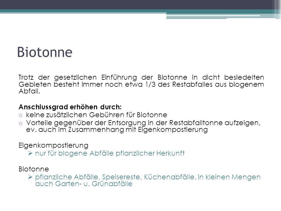 Biotonne Trotz der gesetzlichen Einführung der Biotonne in dicht besiedelten Gebieten besteht immer noch etwa 1/3 des Restabfalles aus biogenem Abfall.