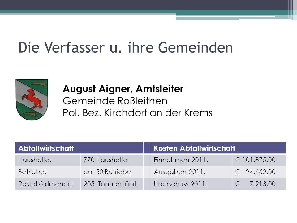 Die Verfasser u. ihre Gemeinden August Aigner, Amtsleiter Gemeinde Roßleithen Pol.