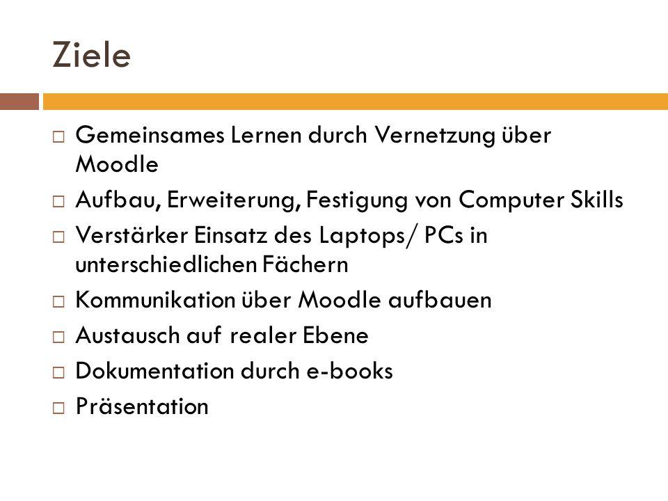 Ziele Gemeinsames Lernen durch Vernetzung über Moodle Aufbau, Erweiterung, Festigung von Computer Skills Verstärker Einsatz des Laptops/ PCs in unters