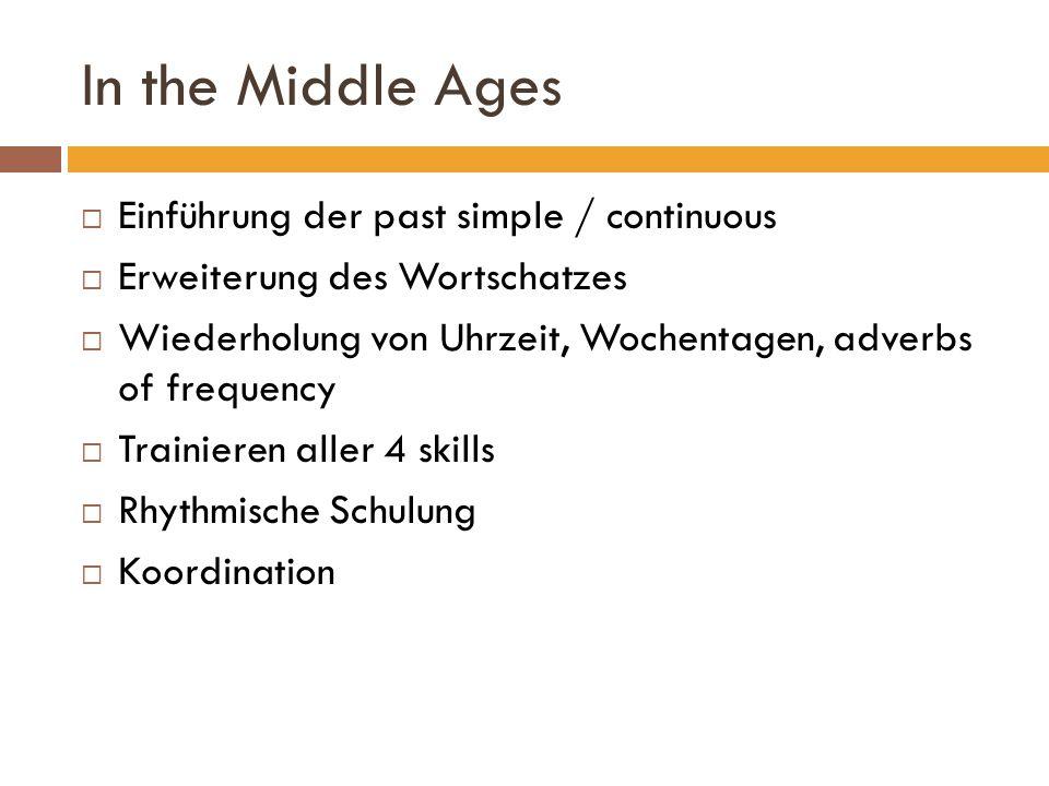 In the Middle Ages Einführung der past simple / continuous Erweiterung des Wortschatzes Wiederholung von Uhrzeit, Wochentagen, adverbs of frequency Tr