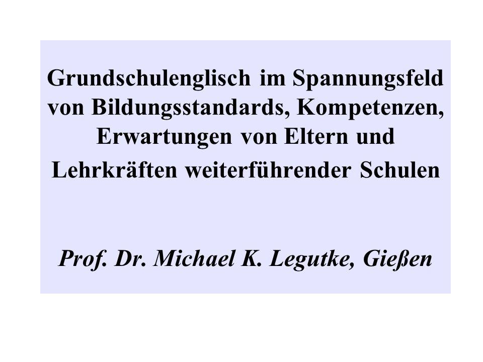 Grundschulenglisch im Spannungsfeld von Bildungsstandards, Kompetenzen, Erwartungen von Eltern und Lehrkräften weiterführender Schulen Prof. Dr. Micha