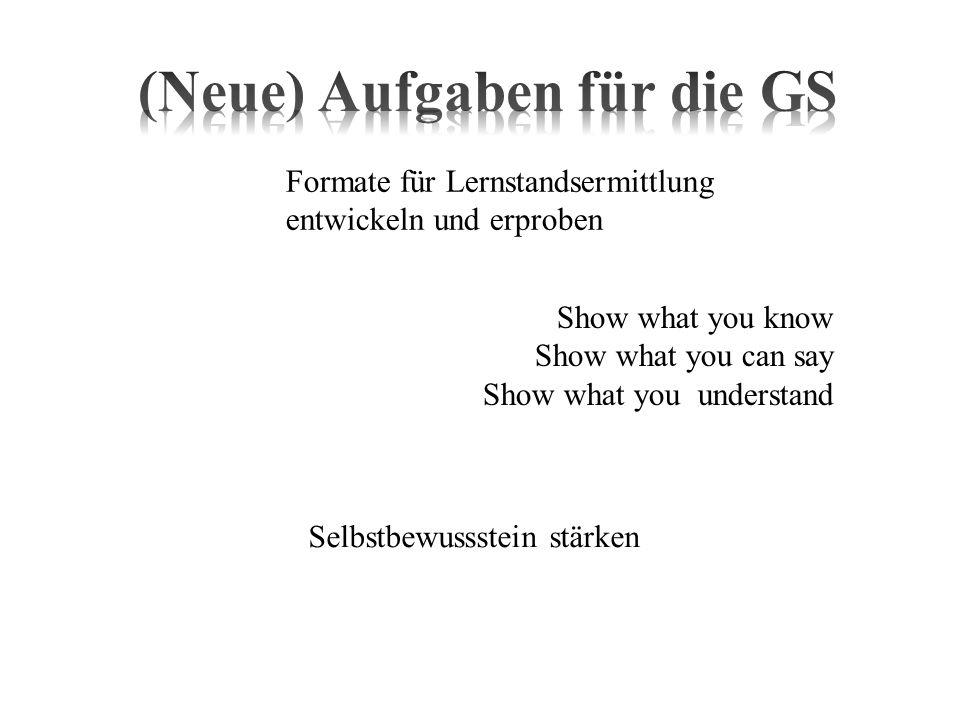 Show what you know Show what you can say Show what you understand Formate für Lernstandsermittlung entwickeln und erproben Selbstbewussstein stärken