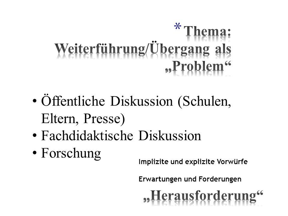 Öffentliche Diskussion (Schulen, Eltern, Presse) Fachdidaktische Diskussion Forschung Implizite und explizite Vorwürfe Erwartungen und Forderungen
