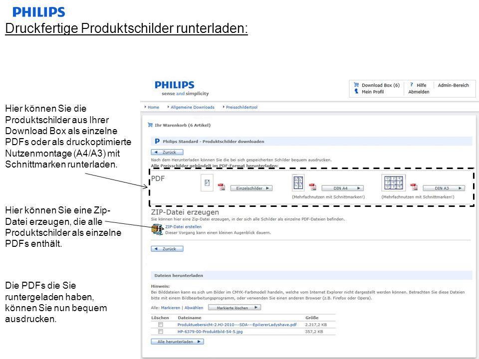 Druckfertige Produktschilder runterladen: Hier können Sie die Produktschilder aus Ihrer Download Box als einzelne PDFs oder als druckoptimierte Nutzen
